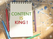 Content is King, internet social media motivation inspirational quotes, words typography top view lettering. Concept royalty free stock photography