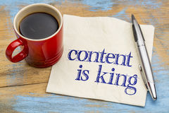 Content is king - reminder on napkin Stock Photography
