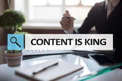 Content is king text in search bar. Business, technology and internet concept. Digital marketing. Content is king text in search bar. Business, technology and Royalty Free Stock Photos