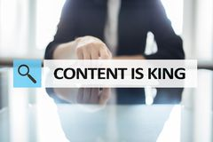 Content is king text in search bar. Business, technology and internet concept. Digital marketing. Content is king text in search bar. Business, technology and Royalty Free Stock Image