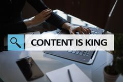 Content is king text in search bar. Business, technology and internet concept. Digital marketing. Content is king text in search bar. Business, technology and Stock Photos
