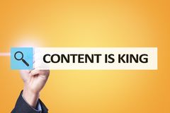 Content is king text in search bar. Business, technology and internet concept. Digital marketing. Content is king text in search bar. Business, technology and Stock Images
