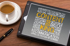 Content is king. On touch screen royalty free stock photo