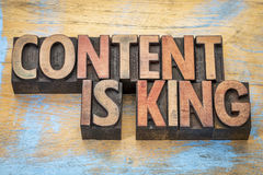 Content is king in wood type Royalty Free Stock Image