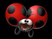 Content ladybird on black background stock illustration