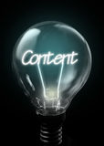 Content. Lit up inside a light bulb royalty free stock images