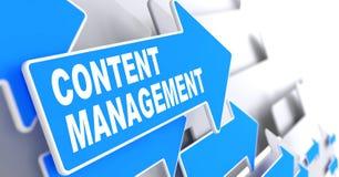 Content Management auf blauem Pfeil. Stockfotos
