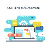 Content Management and Blogging concept in flat design. Creating, marketing and sharing of digital - vector illustration. Content Management, SMM and Blogging stock illustration
