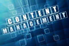 Content management in cubi di vetro blu - concetto di Internet Fotografia Stock Libera da Diritti
