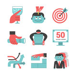 Content management flat icons set. Part 1 Royalty Free Stock Photo