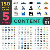 Content Management 150 line flat isometric mobile. 150 Content Management CMS ui icon set. Linear outline flat isometric 5 styles icons. Five style vector mobile Stock Photo