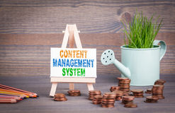 Content Management System Business Concept. Miniature watering pot with fresh green spring grass and small change Stock Image
