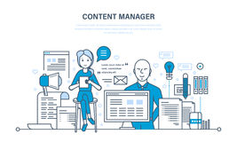 Content manager. Modern technologies, work on writing, editing, processing text. Royalty Free Stock Image