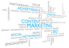 Content marketing through advertising, social networking, and SEO. Word cloud of business ideas related to marketing content through the use of advertising Stock Photos