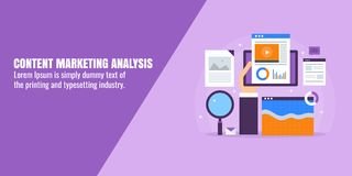 Content research, marketing data and information analysis, business optimization, digital strategy concept. Flat design banner. Content marketing analysis, data Stock Image