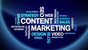 Content Marketing Animated Tag Word Cloud,Text Design Animation seamless loop.