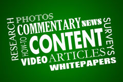 Content Marketing Articles Video Whitepapers Word Collage. 3d Illustration vector illustration