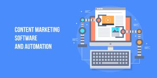 Free Content Marketing Automation, Marketing Software, Robot Hand Working On Content Concept. Flat Design Vector Banner. Royalty Free Stock Photography - 121653867