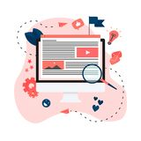 Content Marketing, Blogging and SMM concept. Articles and media materials.  stock illustration