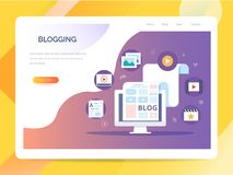 Content Marketing, Blogging and SMM concept in flat design. The blog page fill out with content. articles and media. Blogging, Content Marketing and SMM concept vector illustration