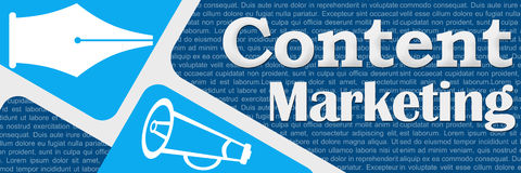 Content Marketing Blue Rounded Squares Banner Stock Photos