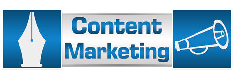 Content Marketing Blue Squares Royalty Free Stock Photo