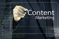 Content Marketing. Businessman pointing at Content Marketing article on screen Royalty Free Stock Image