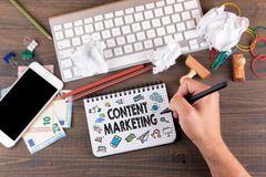 Content Marketing concept brainstorming by the office desk with stationery.  royalty free stock image