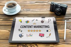 Content Marketing Concept on Digital Tablet. Screen stock photography