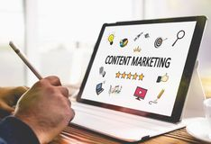 Content Marketing Concept On Digital Tablet. Screen royalty free stock photos