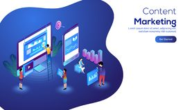 Content Marketing concept with isometric desktop, smartphone, pe. Ople working together with infographic element on abstract background for responsive web banner stock illustration