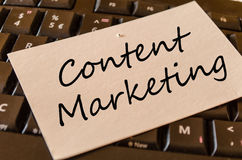 Content Marketing concept on keyboard royalty free stock photos