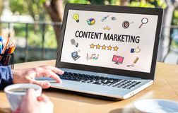 Content Marketing Concept On Laptop Monitor Stock Photos