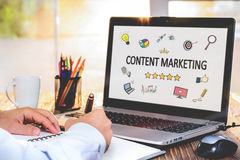 Content Marketing Concept On Laptop Monitor Stock Image