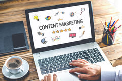 Content Marketing Concept On Laptop Monitor Royalty Free Stock Image