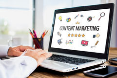 Content Marketing Concept On Laptop Monitor. Content Marketing Concept With Various Hand Drawn Doodle Icons On Laptop Monitor stock images