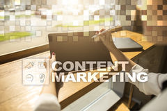 Content marketing concept on the virtual screen. Content marketing concept on the virtual screen Stock Images