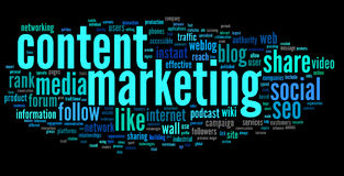 Content marketing conept in word tag cloud Stock Photo