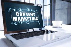 Content Marketing. Text on modern laptop screen in office environment. 3D render illustration business text concept Stock Photos