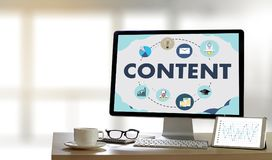 CONTENT marketing Data Blogging Media Publication Information Vi royalty free stock photography