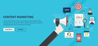 Content marketing and digital content promotion. Content marketing, advertising and communication in business, digital content promotion. Hand holding megaphone stock illustration