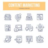 Content Marketing Doodle Icons. Doodle line icons set of content management and digital marketing vector illustration