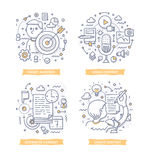 Content Marketing Doodle Illustrations. Doodle illustrations of creating and distributing valuable relevant content to attract target audience. Concepts of stock illustration