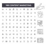 Content marketing editable line icons, 100 vector set, collection. Content marketing black outline illustrations, signs. Content marketing editable line icons vector illustration