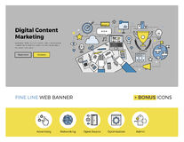 Content marketing flat line banner. Flat line design of web banner template with outline icons of digital content marketing editor at work, business workflow stock illustration