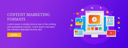 Content marketing formats for digital audiences, video, visual, email, website, blog, article infographic. Modern concept of content marketing, content seo royalty free illustration