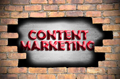 Content marketing in the hole of brick wall Royalty Free Stock Photo