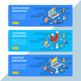 Content marketing isometric vector web banners. Business sale st. Rategy and social media customer research. E-commerce or online shopping target search stock illustration