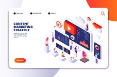 Content marketing landing page. Contents creation specialist and article writers. Writing service isometric concept. Illustration of article write copywriting vector illustration