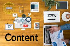 Content marketing, online concept , Content Data Blogging Media Royalty Free Stock Images